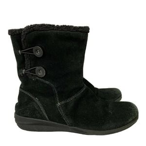 Clarks Anna Curly Solid Black Suede Faux Fur Boots